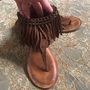 Not Rated moccasin fringe thong sandals